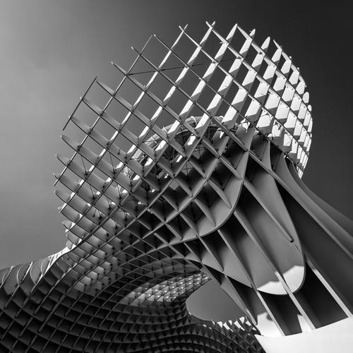 sevilla parasol schwarz-weiß struktur